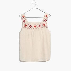 Embroidered Island Linen Tank size M